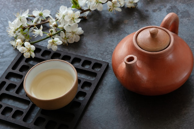 Close up of ceramic asian tea set with green japan tea with cherry blossoming branches on grey table.