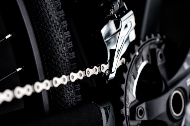 Close up chain of the mountain bike
