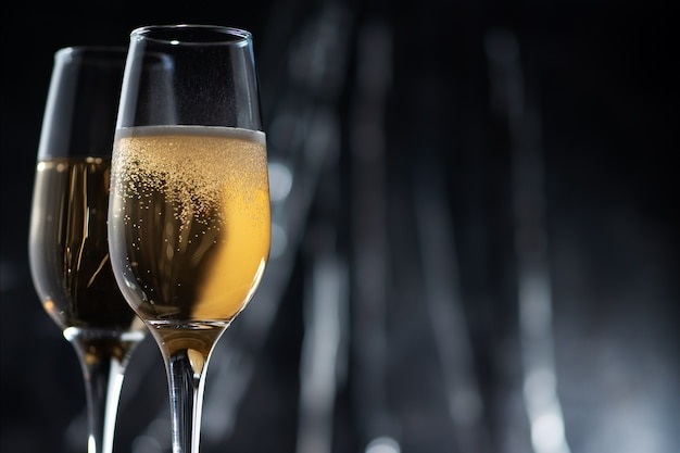 Close up of champagne glasses