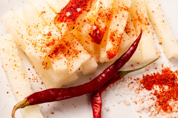Close-up cheese with chili peppers