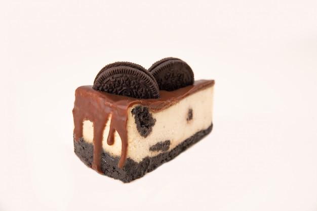 Close up of cheesecake with chocolate cream