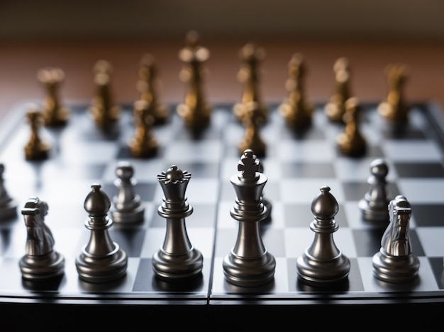 Close up of chess board on the table