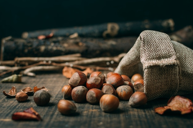 Close-up chestnuts in a bag