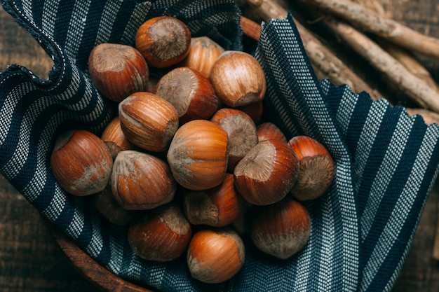 Close-up chestnuts in a bowl