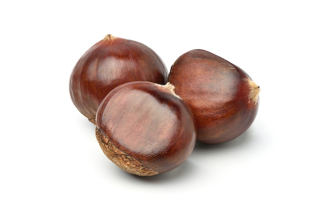 Close-up chestnuts isolated on white