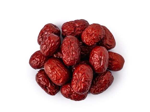 Close up of chinese red dates (jujube) isolated on white background with clipping path.