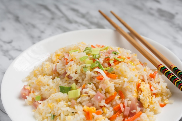 Close-up of chinese rice three delicacies.