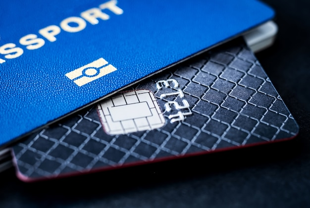Close up on chipped credit card and pasport