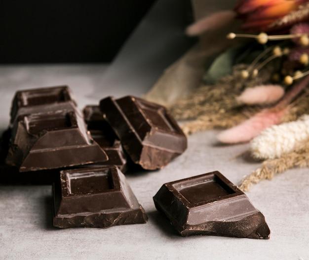 Close-up chocolate bar squares