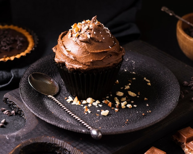Close-up chocolate cupcake ready to be served