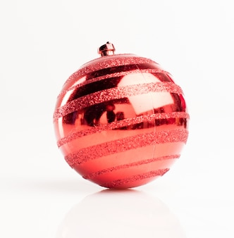 Close-up of christmas ball with reflections