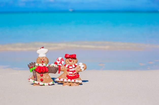 Close up of christmas gingerbread cookies on a white sandy beach