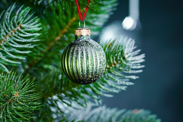 Close up christmas tree with decorations