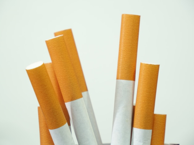 Close up of a cigarettes and the tobacco leaf that is in the cigarettes