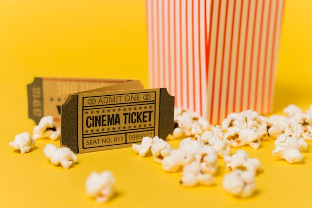 Close-up cinema tickets and popcorn