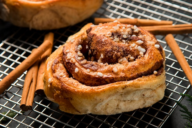 Close-up cinnamon rolls on a plate