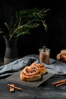 Close-up cinnamon rolls on table