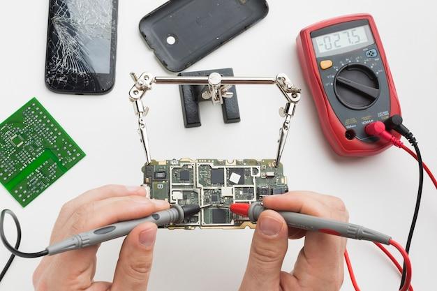 Close-up circuit board repair