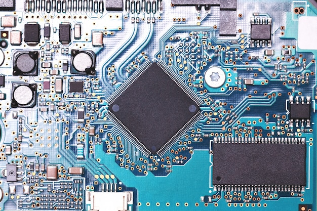 Close up circuit digital chip. mockup for decor and design