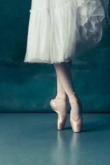 회색 나무 바닥에 포인트가 있는 클로즈업 클래식 발레리나 다리. 백인 모델의 발레리나 프로젝트. 발레, 댄스, 예술, 현대, 안무 개념