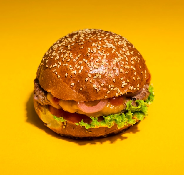Close-up classic burger with lettuce