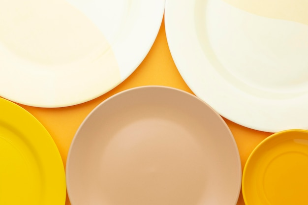 Close up clean tableware