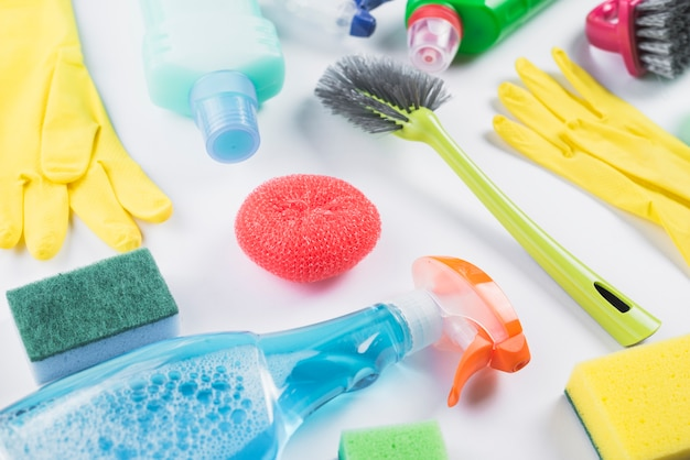 Close-up of cleaning products on grey backdrop