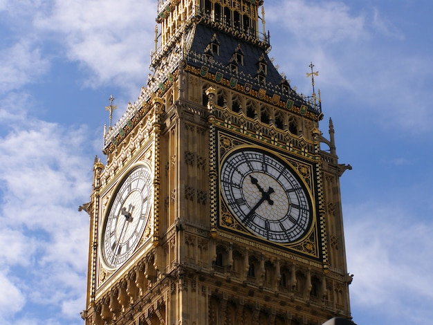 Close-up of the clock face of big ben, london.
