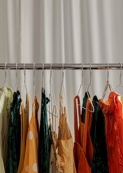 Close up clothes rack in store