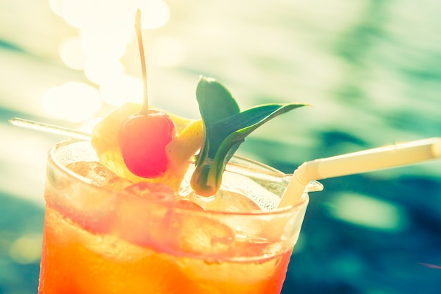 Close-up of cocktail with straw