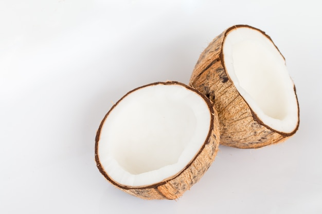 Close up of coconut on white background