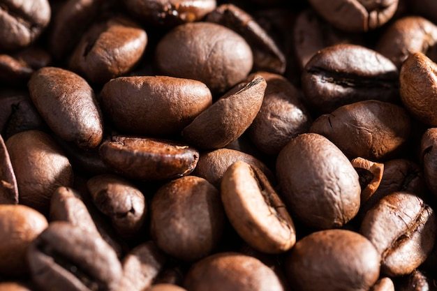 Close-up coffee beans organic background