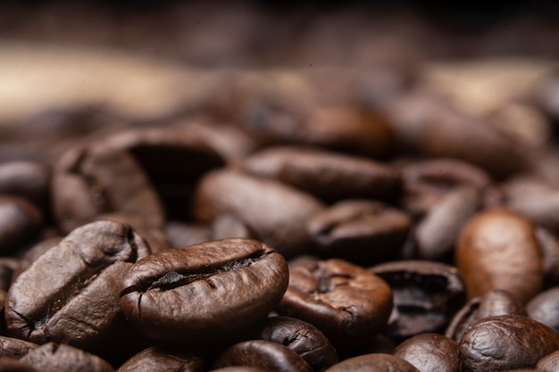 Close up of coffee beans roast