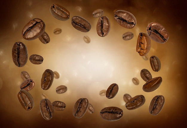 Close up on coffee beans splash