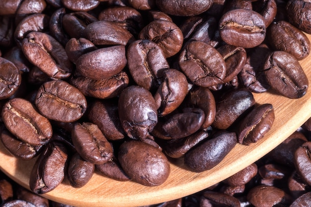 Close up of coffee beans on wooden spoon