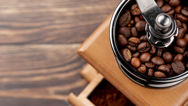 Close-up of coffee concept on wooden table