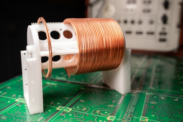 Close-up of a coil of copper wire