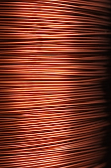 Close-up of a coil of red copper wire