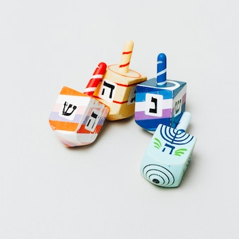 Close-up collection of jewish dreidel