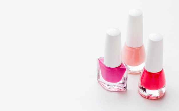Close-up collection of nail polish with copy space