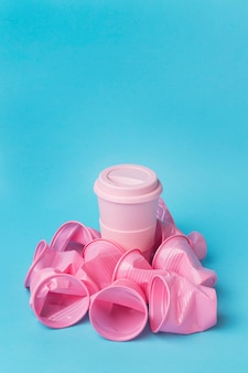 Close-up collection of plastic cups