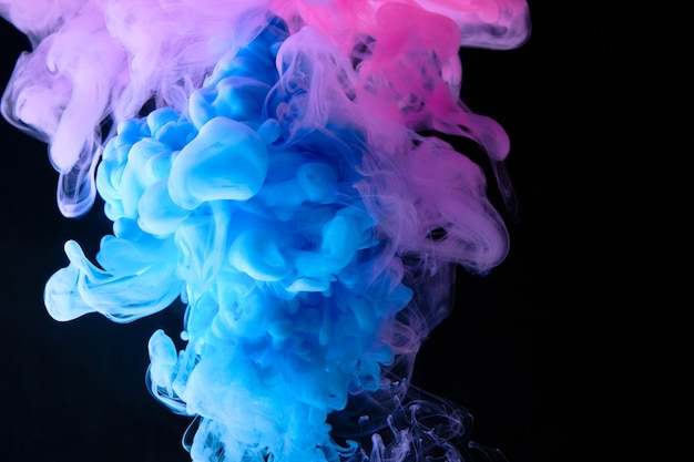 Close up color explosion in water