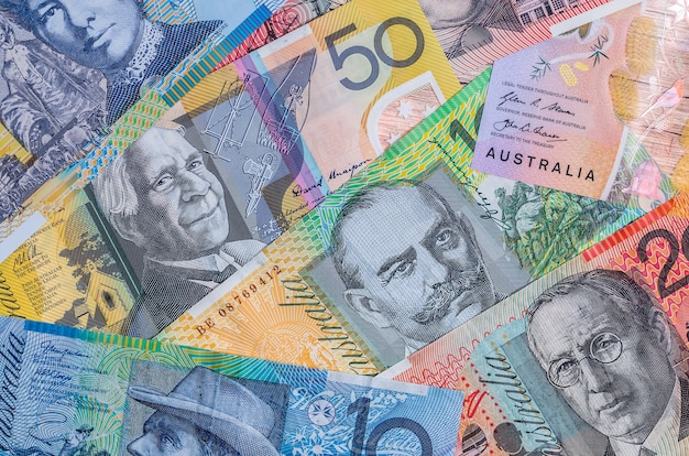 Close up of colorful australian dollar banknotes