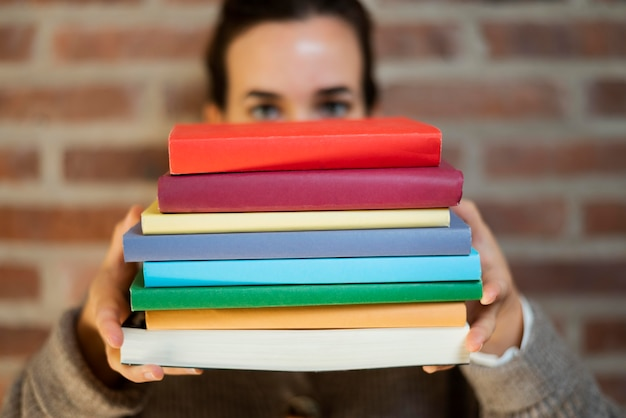 Close up on colorful books pile
