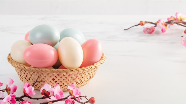 Close up of colorful easter eggs in the basket with pink plum flower on bright white wooden table background.