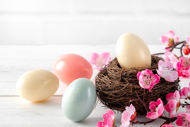 Close up of colorful easter eggs in the nest with pink plum flower on bright white wooden table background.