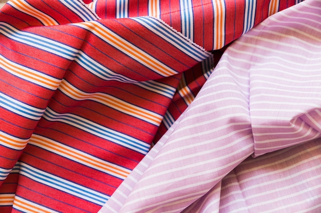 Close-up of colorful folded fabric background