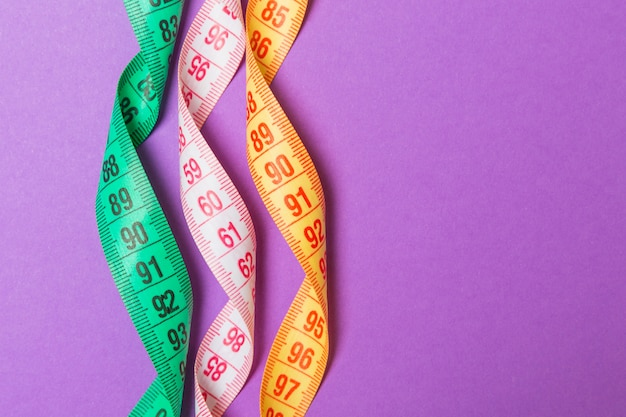 Close up of colorful measure tapes