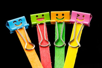 Close up colorful of binder clips on Ice cream sticks