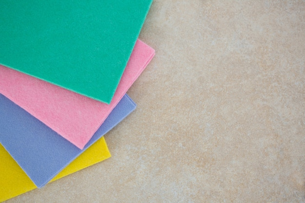 Close-up of colorful wipe pads